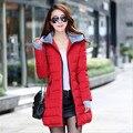 2016 Invierno medio-largo abajo chaqueta femenina de algodón acolchado de Las Mujeres delgadas damas chaquetas y abrigos plus tamaño de la chaqueta