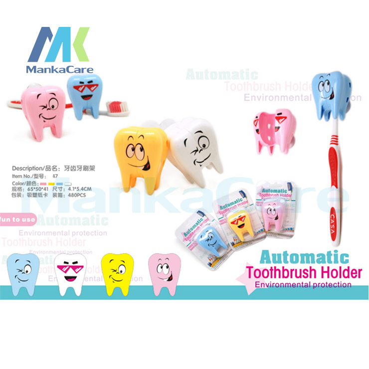 4 Pcs Smiling Tooth shape toothbrush holder 4 COLORS Bathroom Sets Suction Hooks Tooth Brush container dental gift Free shipping