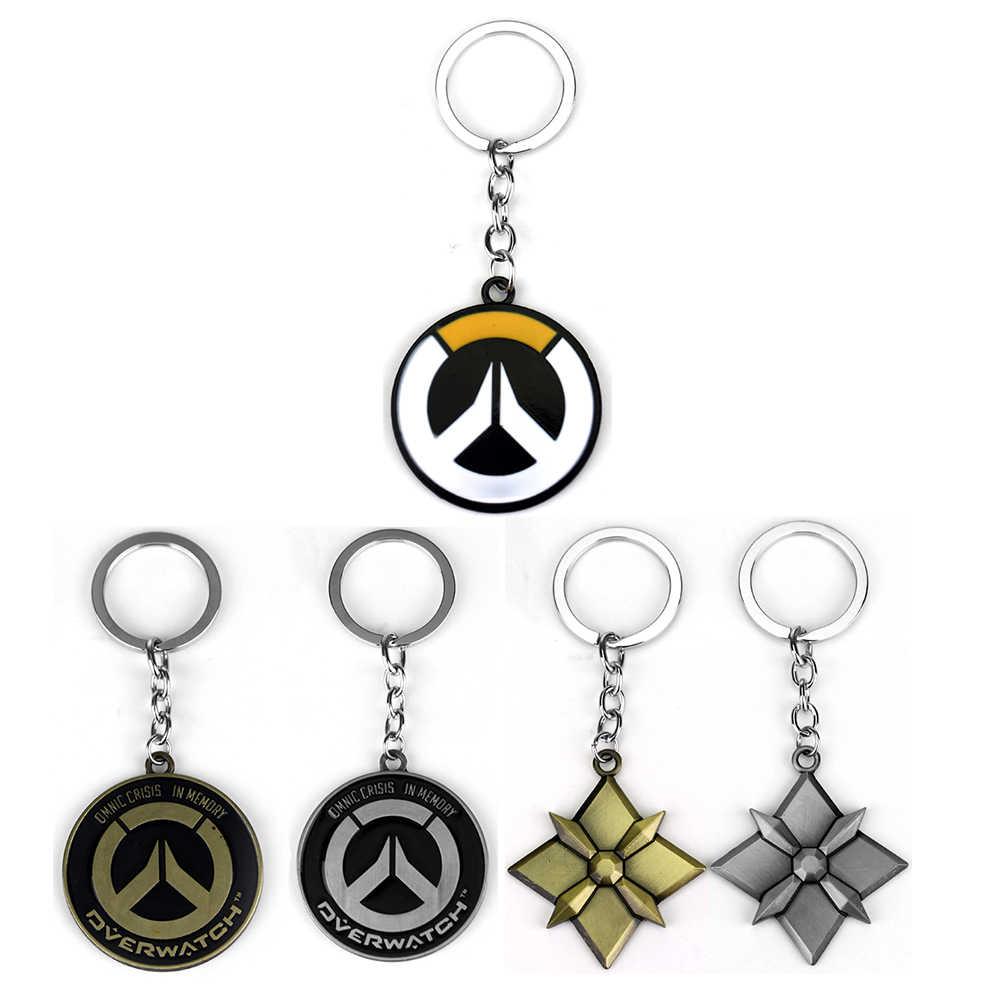 حار لعبة Overwatch سلسلة مفاتيح حامل المعادن الموضة سبائك آه سلاسل المفاتيح أقراط مجوهرات هدية ل رجل الصبي