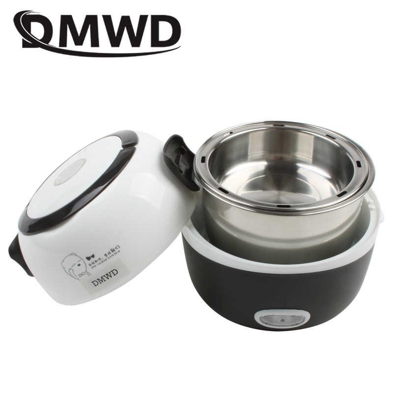 DMWD MINI Panela de Arroz Lancheira Aquecimento Elétrico Térmica 2 Camadas Food Steamer Cozinhar Recipiente Refeição Lancheira Portátil Mais Quente