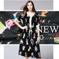 Silk Crepe De Chine Shirt Cartoon Printed Skirt Dress Handmade Custom High Grade Fabric Cloth Fabric
