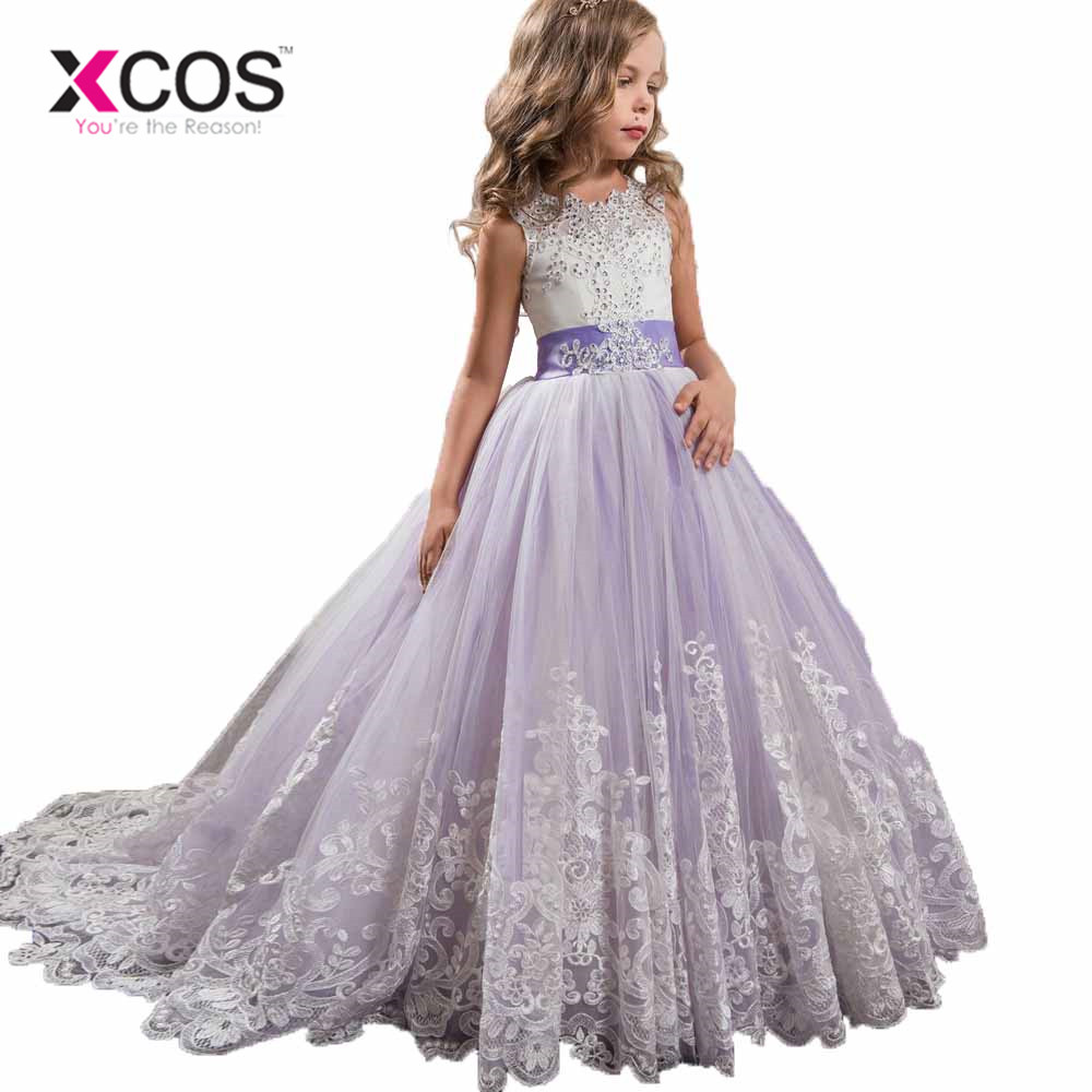 Xcos Romantic Purple Lace Puffy Lace Flower Girl Dress 2017 For
