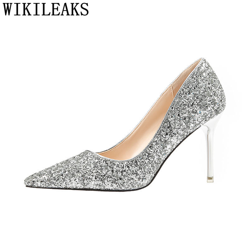 3 1 Talons Hauts Femmes De Bout Chaussures Buty Pointu Mariage Sexy Tacones 2 Or Fétiche 5 4 Pompes Mariée Glitter Altos Mujer 4qHnT