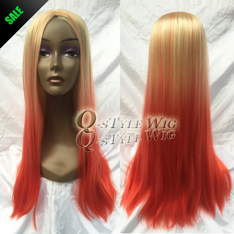 Hot Sell Light Blonde Ombre To Orange Red 70cm Long Silk Straight