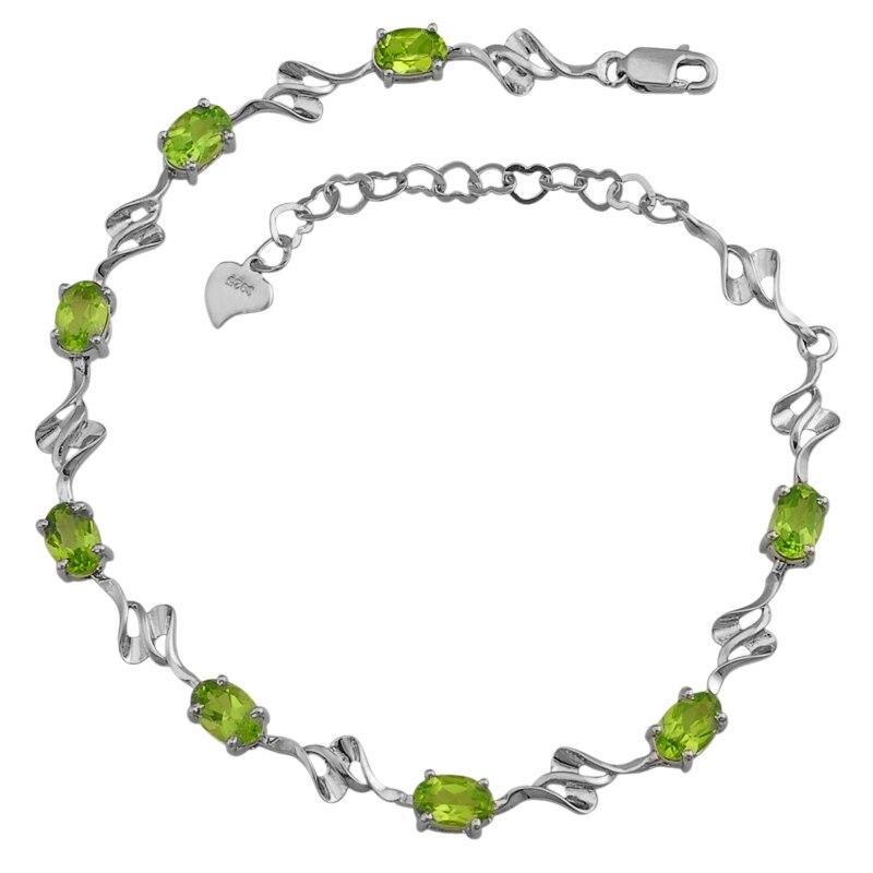 Péridot naturel Bracelet 925 en argent Sterling femme Fine élégante gemme verte bijoux fille pierre de naissance saint-valentin cadeau sb0020p