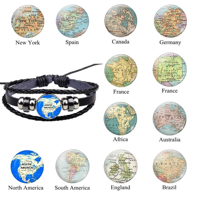 Map Of France England And Spain.Us 1 37 31 Off World Map Leather Bracelets North American Africa France Spain England Map Jewelry Men Women Weaving Button Bead Charm Bracelet In