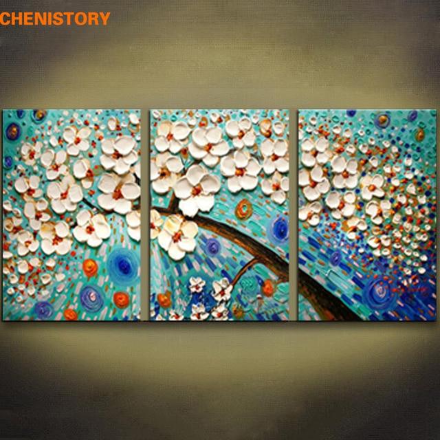 25 64 50 De Réduction Non Encadré 3 Pièces Blanc Bleu Fleur Arbre Palette Couteau Peinture Moderne Mur Art Photo Toile Peinture Pour Décor à La
