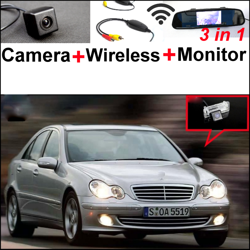 3in1 Special WiFi Camera + Wireless Receiver + Mirror Monitor DIY Parking System For Mercedes Benz MB C180 C240 C260 C32 C55 wireless pager system 433 92mhz wireless restaurant table buzzer with monitor and watch receiver 3 display 42 call button