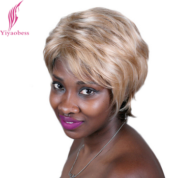 Yiyaobess 8inch Natural Light Golden Brown Ombre Short Wig Heat Resistant Synthetic Hair Wigs For African American Women