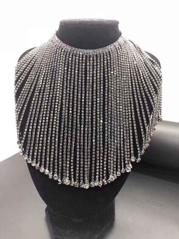 Hoge kwaliteit kwasten crystal rhinestones trim, 1 yard/lot, breedte ongeveer 140mm, DMC glas materiaal fancy edelsteen ketting, DIY sieraden