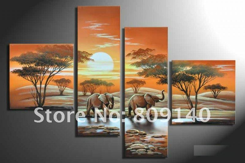 Oil painting decoration african landscape elephant modern for Hotel wall decor