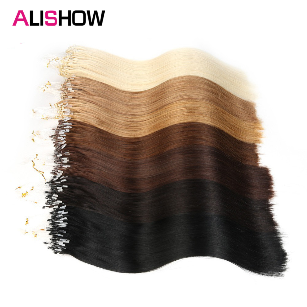 Alishow Mirco Loop Ring Hair 100% Remy Human Hair Extensions Micro Beads Hair Extensions 100 Strands Loop Hair Extensions 100g