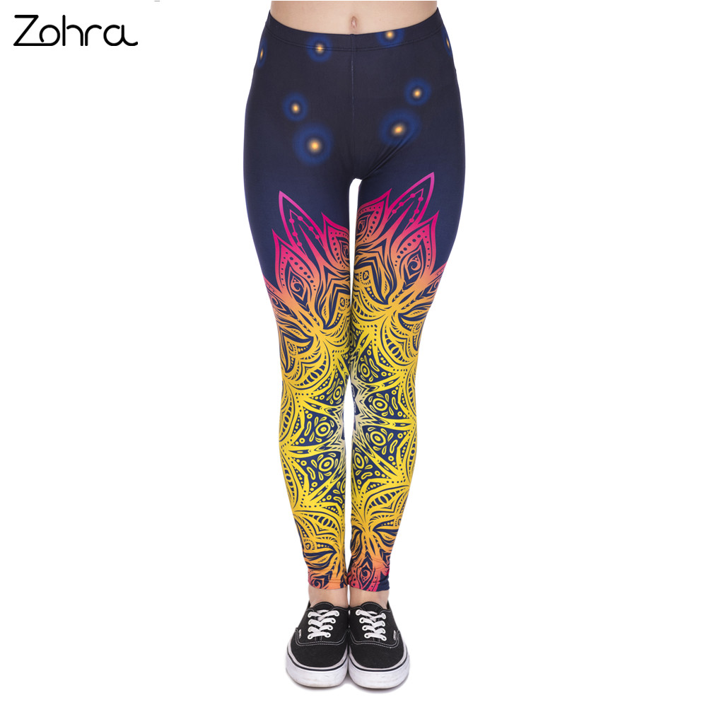 Zohra Vår Mote Kvinner Legins Mandala Lights 3D Printing Sexy Legging High Waist Soft Woman Leggings
