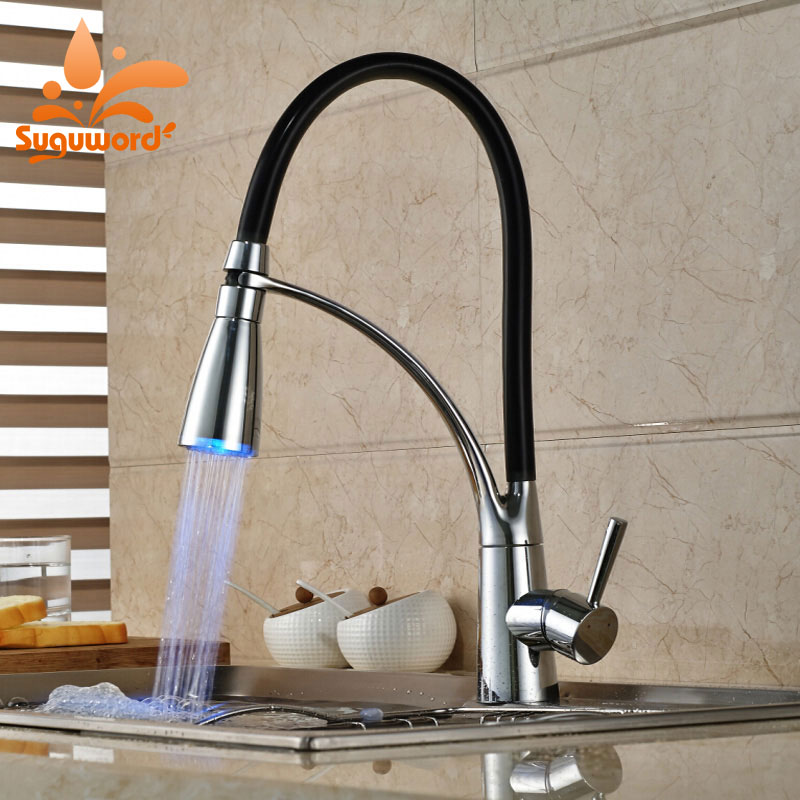 Suguword LED Chrome Kitchen Faucet Deck Mounted Single Handle One Hole Hot and Cold Mixer Tap ветрозащита для микрофона akg w1000