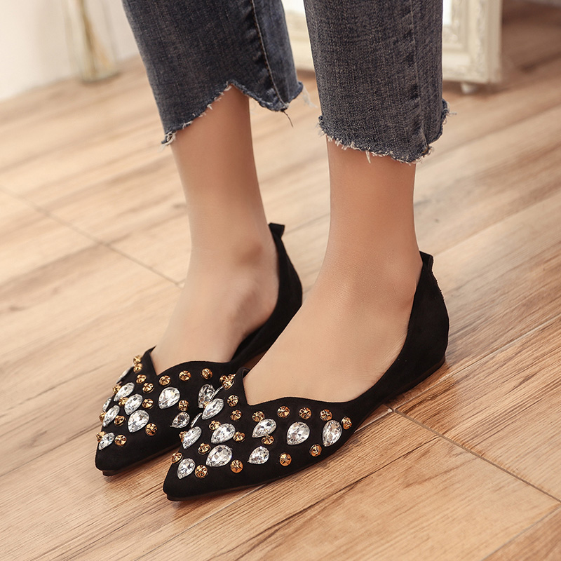 289215445 Da cáqui Das Plana Elegante Flats Mulheres Cristal Mulher Casual De  Confortável Sapato Sapatos Brilhante Vestido ...