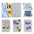 For Apple Ipad Air 5 /6 Air 2 Luxury PU Leather Case Ultra Flip Smart Cases Stand Cover Design Funny Minions