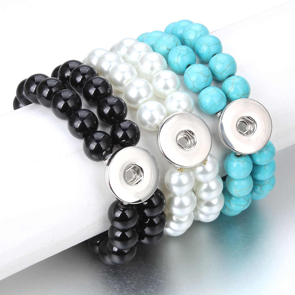New Beads Snap Bracelet Double Layer Black Natural Stone Beaded Bracelet Fit 18mm 20mm Snap Buttons Jewelry for Women Men