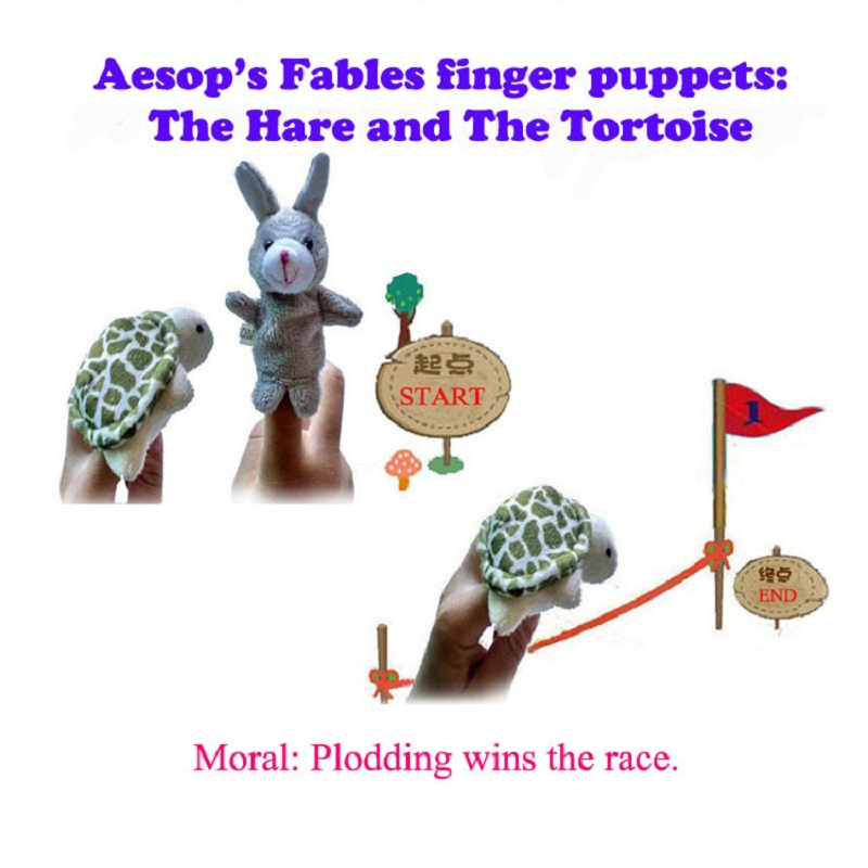 Aesop's Fables, Tortoise And Hare Story / World Of Fairy Tales Finger Puppet Plush Toys Cartoon Biological Child Baby Favor Doll
