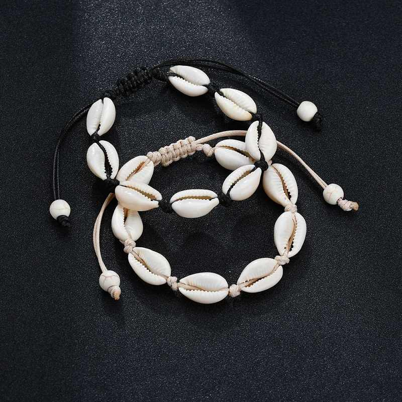 Natural Hawaiian Shell Casual Handmade Leather Bracelets Bangles For Women New Fashion Beach Scallop Wind Conch Bracelets 2019