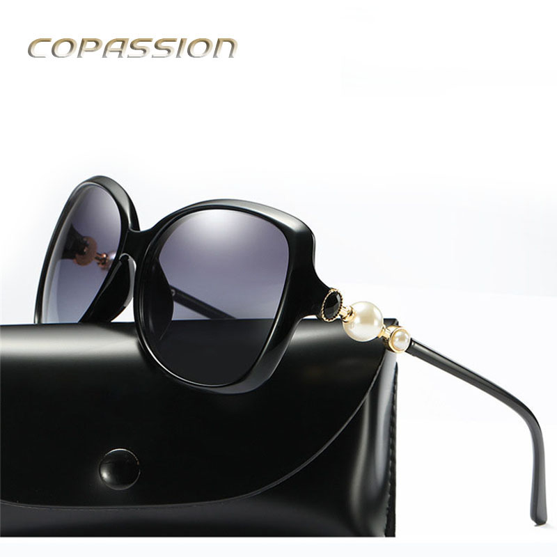 Big pearl Sunglasses Women Polarized uv400 Oversized Vintage Female Sun glasses driver Shades with Case oculos de sol feminino