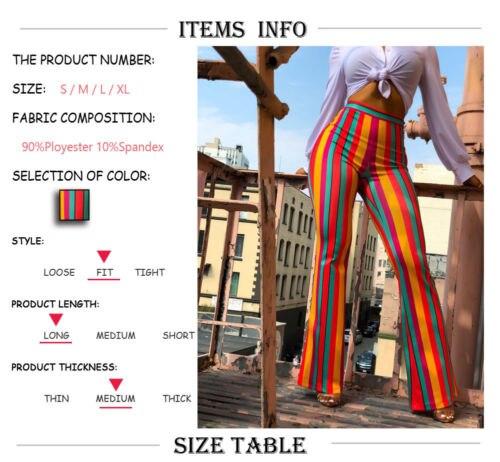 16f1e6c46f41e Women Boho Stripe Long Pants Palazzo Bell Bottoms Flare Trousers High Waist  Stretch Vertical Stripe Long Pants-in Pants   Capris from Women s Clothing  on ...
