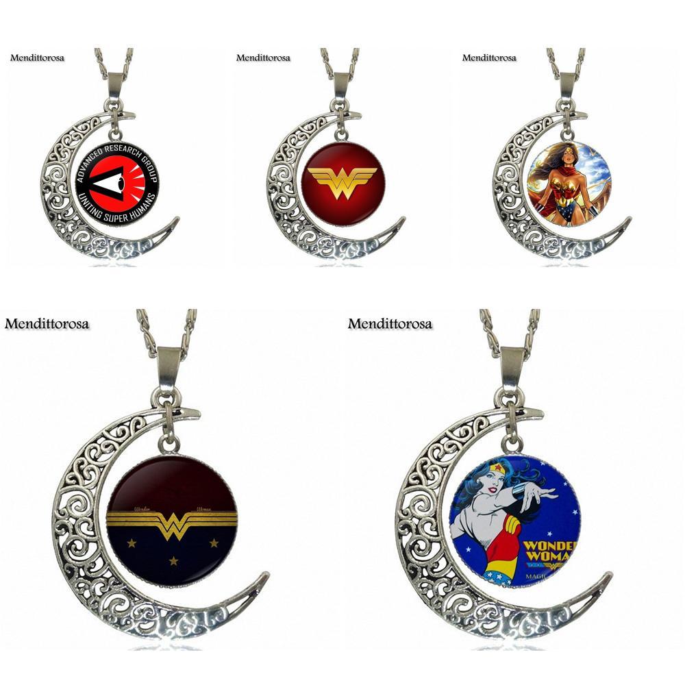 Mendittorosa чудо-женщина фильм логотип Стекло кабошон кулон Цепочки и ожерелья Модные Цепочки и ожерелья для Для женщин колье
