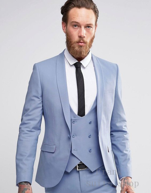 2018 Newest Light Blue Groomsmen Shawl Lapel Mens Wedding Suits Groom Tuxedos Costume 3 Pieces Men