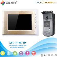 Xinsilu V70C-ID Timbre Cámara Con Monitor de Interior de 4.3 pulgadas Espectador de La Puerta De Teléfono De La Puerta Bell Video Foto IR Voz de Desbloqueo
