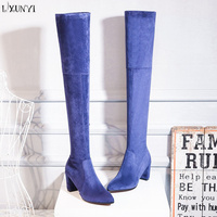 LXUNYI 2018 Winter Blue Yellow Black Women Boots Squre Heel Faux Suede Over The Knee Warm Boots Thigh High Boots Women Shoes