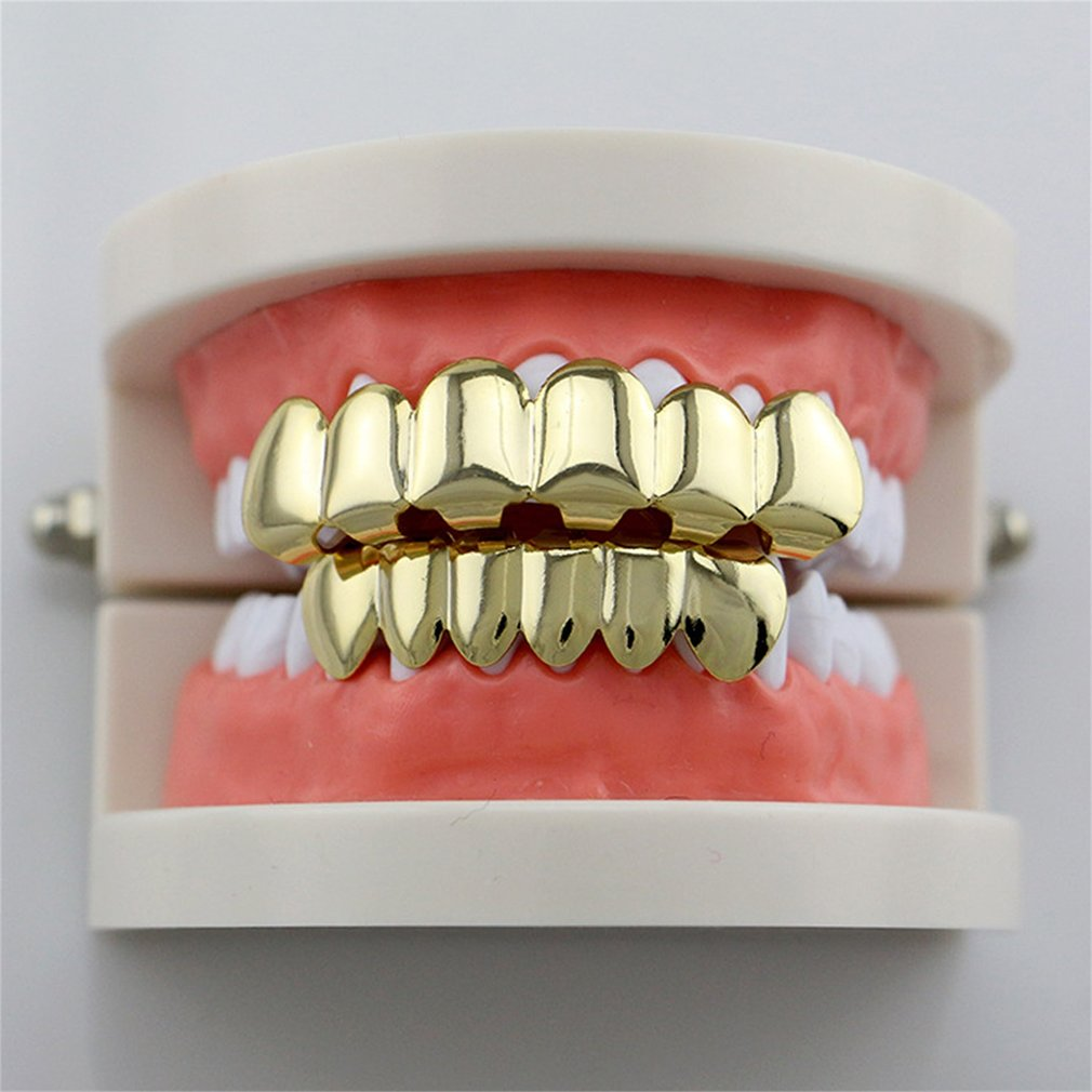 GENBOLI Gold-color Silver Plated Hiphop Hip Hop Teeth Grillz Caps Top & Bottom Teeth Grills Set + 2pcs Silicone Pad Body Jewelry