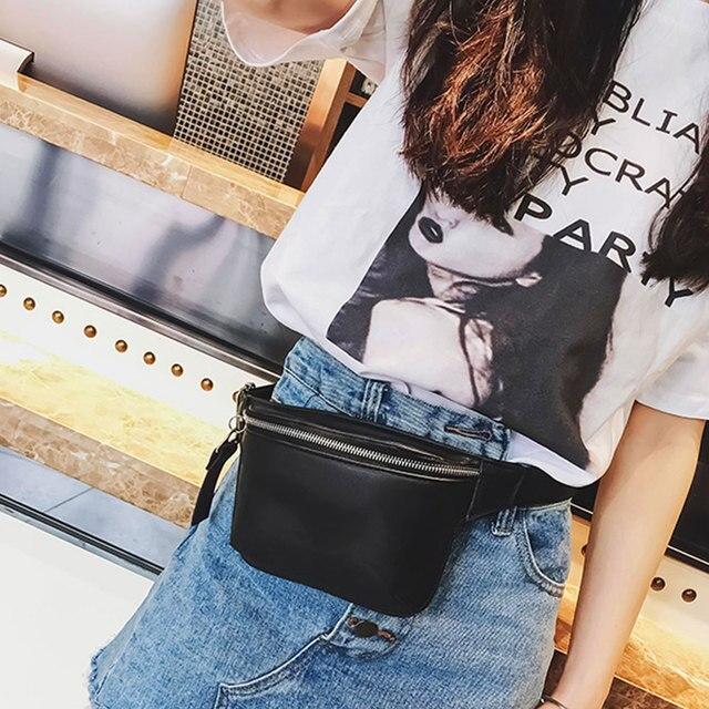 2018 PU Leather black Waist Bags Women Designer Fanny Pack Fashion Belt Bag  Female Mini Waist Pack Messenger Bolsa New Coin bag f61c4e5fa4