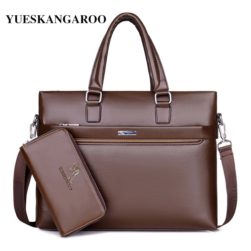 YUES KANGAROO Fashion Men Tote Casual Briefcase Laptop Handbag Business Shoulder Bag Black Leather High Quality Messenger Bags yues kangaroo brand men bag leather casual high quality shoulder crossbody bags classical business briefcase mens messenger bag