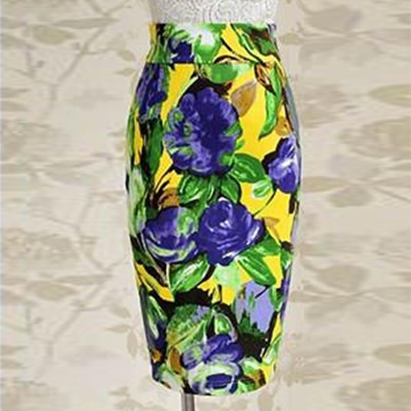 2019 Spring High Waist Sexy Sheath Flower Print Women Vintage Pencil Bodycon Party Skirt