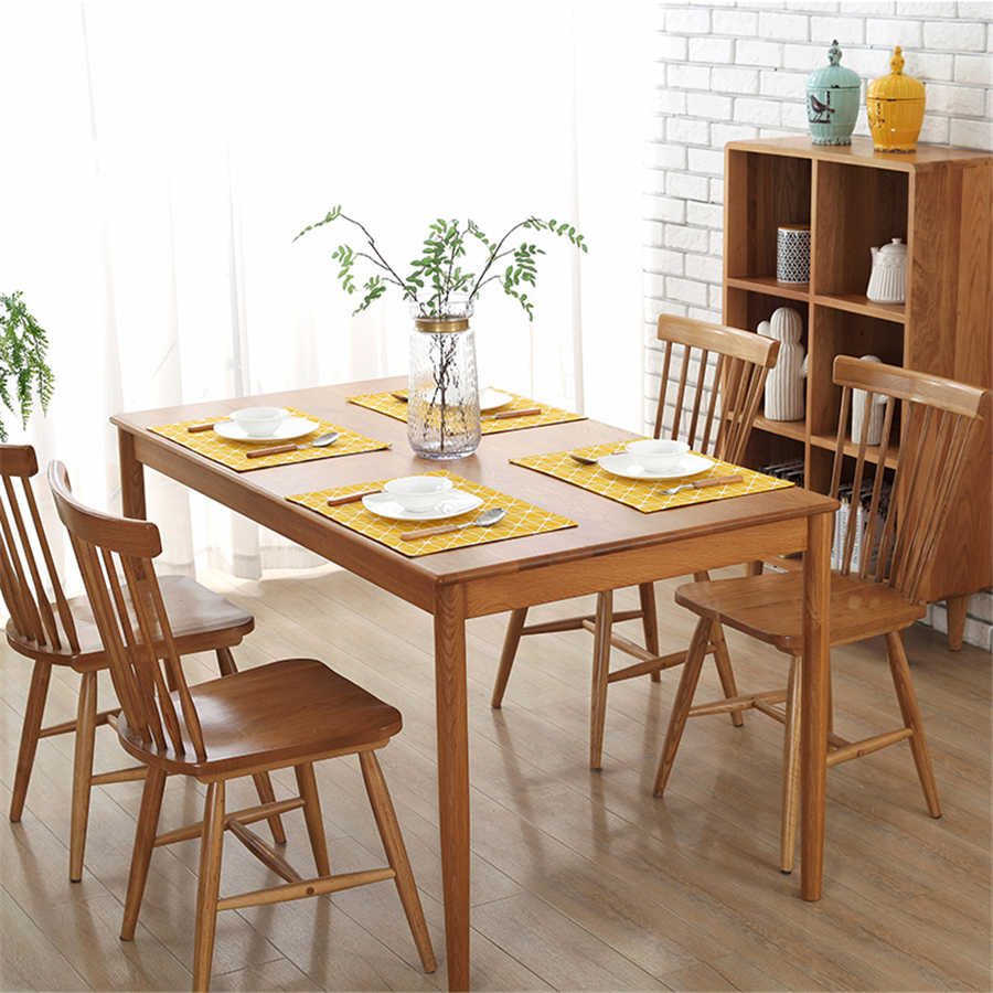 4pcslot placemat printing lattice stitching dining table