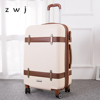 24 inch women retro suitcase spinner ABS hardside rolling luggage on wheels