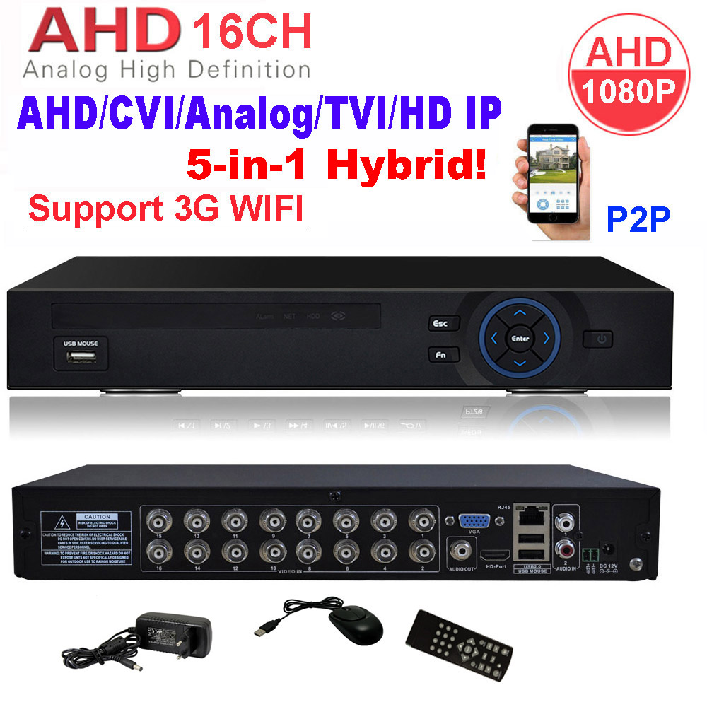 CCTV Security 16CH DVR AHD 1080P 1080N 3 IN 1 Hybrid HVR NVR HDMI 3G WIFI