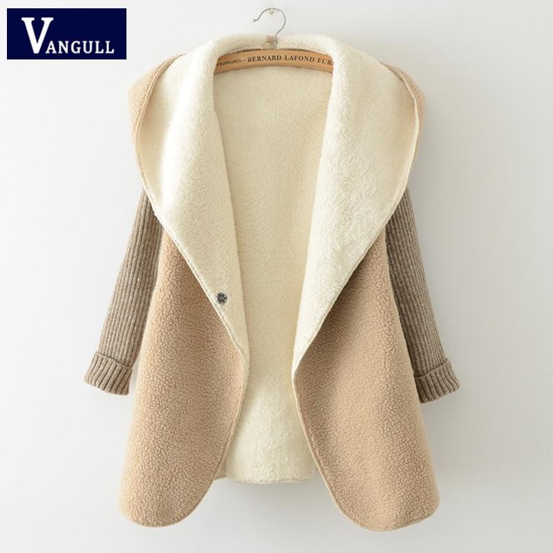 Women Hooded Fur Coat Jacket Winter Lamb Fur Cardigan Coat 2018 New Stitching Knit Sleeves Faux Coats Thick Warm Women Outwear