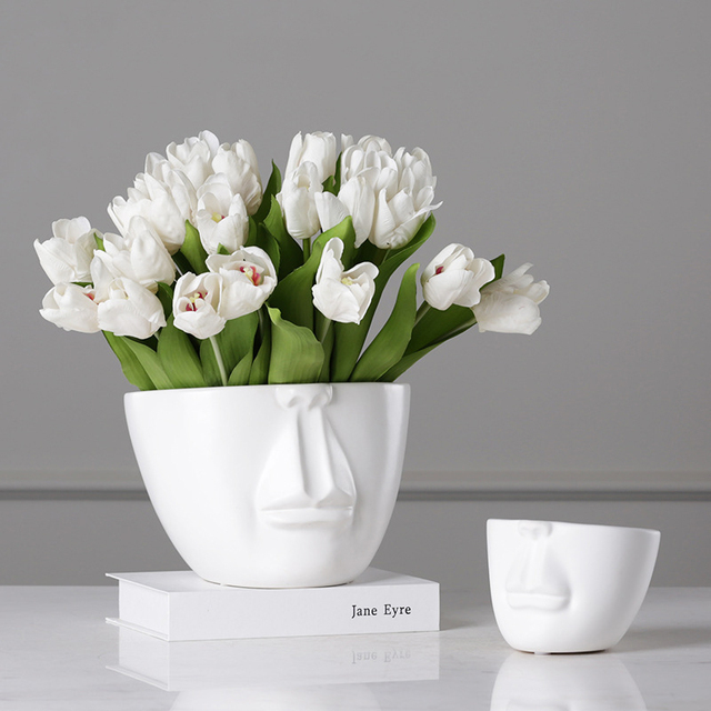 living room flower vases furniture design for in india europe style home decoration vase ceramic face avatar tabletop indoor pot succulents plant