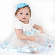 22 Polegada 100% cheio de silicone bonecas reborn lifelike bebês recém-nascidos olhos azuis moda baby dolls para crianças bonecas de presente
