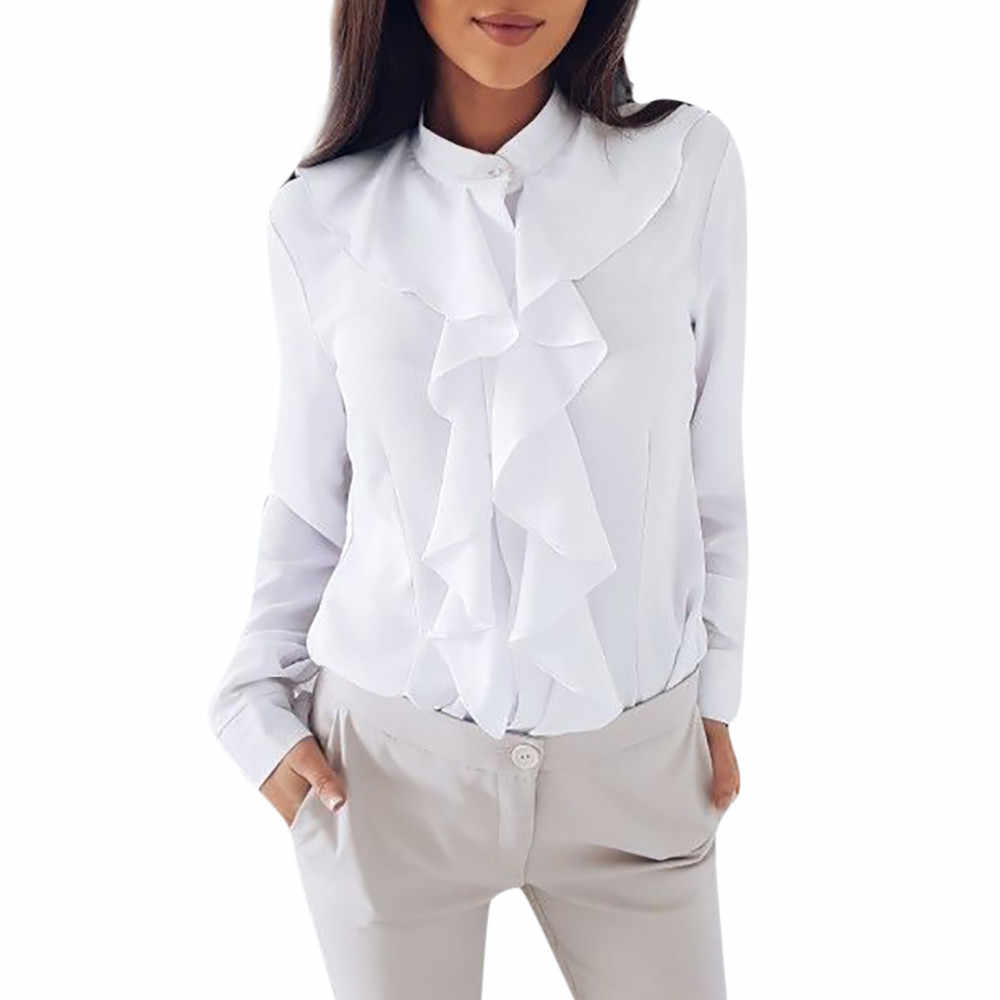 260b9874fa981d Womens Office Shirt Ruffle Tops Blouse Long Sleeve Blouse OL Shirts Female  Elegant Work Shirt Casual
