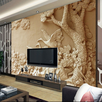 custom 3d effect photo painting wallpaper large european golden stereoscopic relief wall mural tree bird Sculpture wall mural
