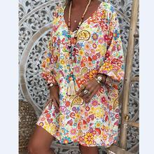 2019 New Yfashion Women Printing Dress V-collar Long Sleeve Medium Casual Vestidos