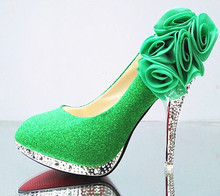 Green Women Pumps Wedding Shoes Glitter Gorgeous Bridal Shoes Sexy Women Shoes Crystal Red Bottom High Heels Womens Shoes Woman стоимость
