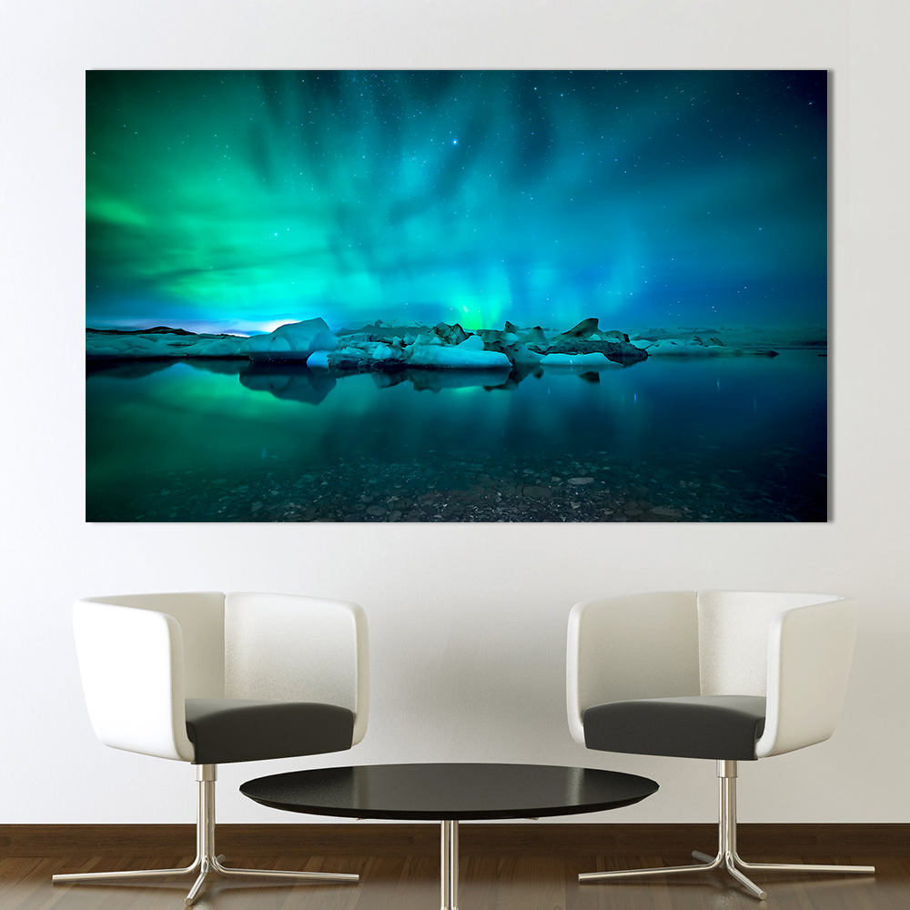 AAHH Wall Art Prints Pictures for Living Room Northern Lights Canvas Painting Home Decor Photography No Frame