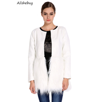 Warm Faux Fur Wool Jacket Luxurious Blend Long Fur Mongolian Stitching Plush O Neck Winter Coat