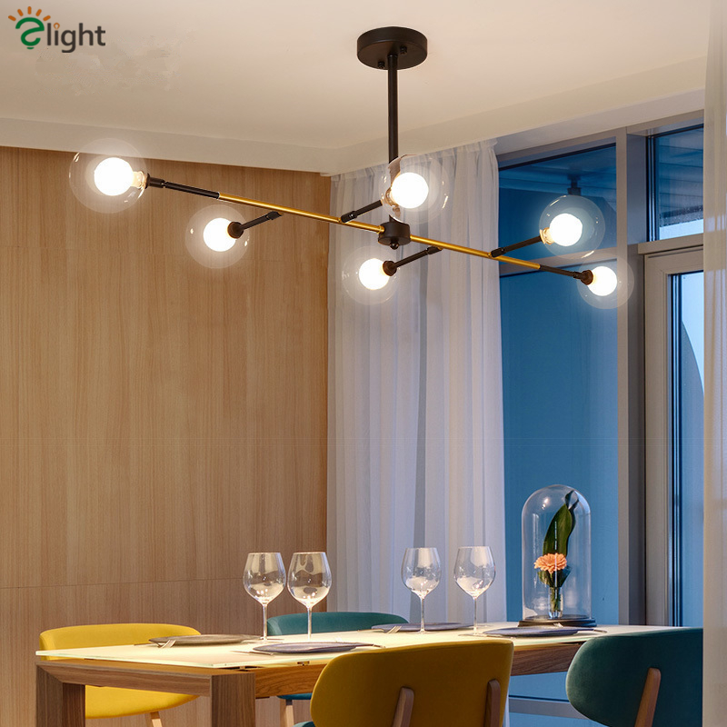 Us 207 34 39 Off Nordic Horizontal Cross Metal Led Pendant Chandelier 6 Light L130cm Double Gl Shades Lighting For Sitting Room In