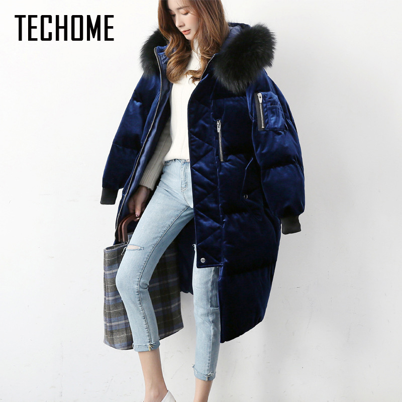 Women's Thick   Down     Coat   Winter   Down     Coat   Big Fur Collar Medium-Long Jacket High Quality doudoune femme   Down     Coats   Women Parkas