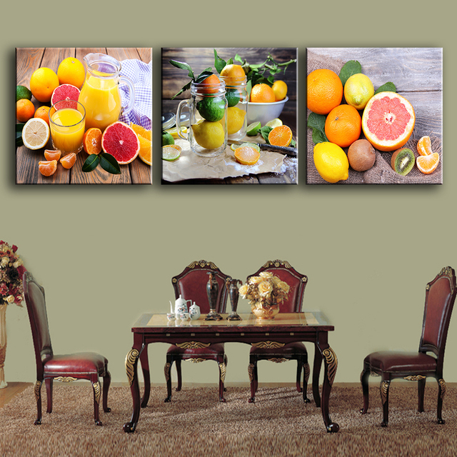 Oferta 3 unids/set pinturas para la cocina jugo de fruta decoración ...