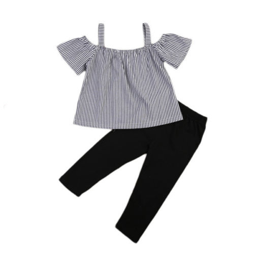 Kids Baby Girls Clothes Set Fashion Outfit Summer Short Sleeve Off Shoulder Striped Tops Black Long Pants Clothing 1-6T 2pcs infant baby boy girl 2pcs clothes set kids short sleeve you serious clark letters romper tops car print pants 2pcs outfit set