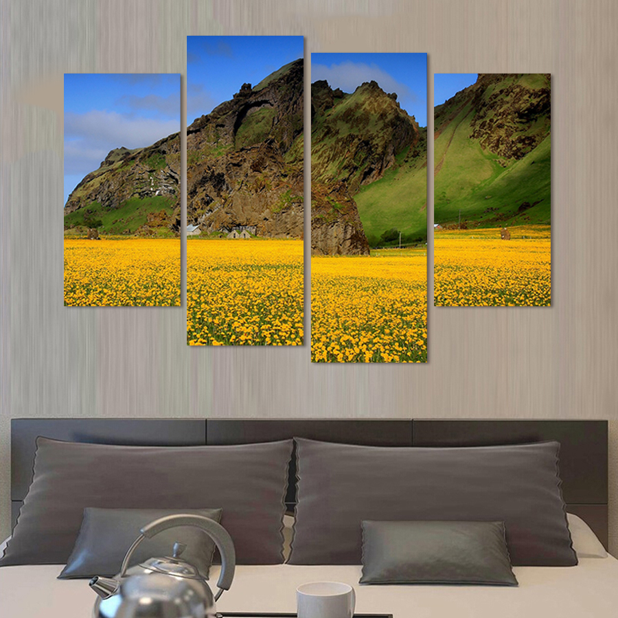 Modern 4 Panel Wall Painting Landscape Painting On The Wall Art ...